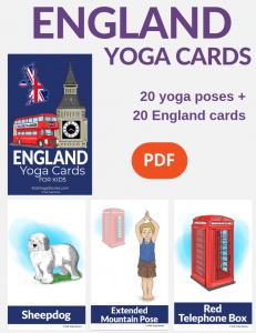 England Yoga Cards for Kids, yoga poses England | Kids Yoga Stories