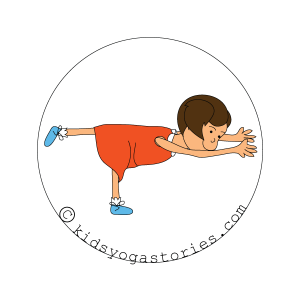 Warrior 3 pose kids yoga stories