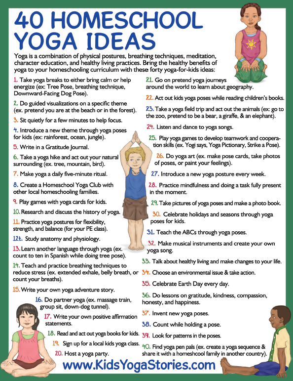 "Download your free ""40 Homeschool Yoga Ideas"" poster 