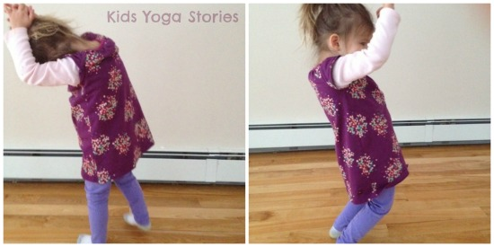 Crescent Moon and Chair Pose on Kids Yoga Stories