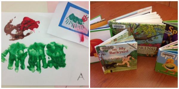 Fingerpaint caterpillar and spring books on Kids Yoga Stories