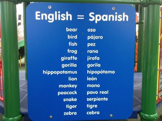Zoo animal names in English and Spanish on Kids Yoga Stories