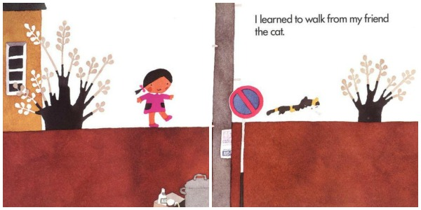 Cat page from My Friends book by Taro Gomi