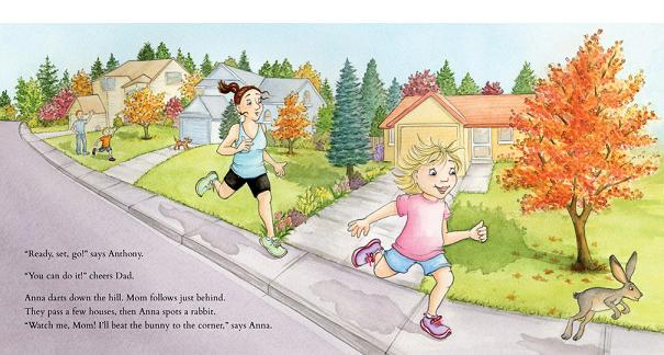 Healthy mom and daughter running in My Favorite Run book by Katherine Karagiannis Richards
