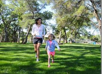 Mom and daughter running