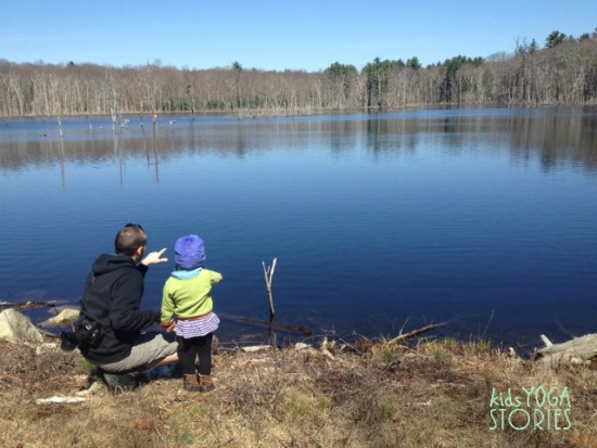 Hike to a beaver pond, on Kids Yoga Stories