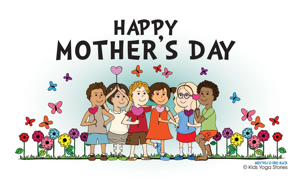 Yoga Kids saying Happy Mother's Day from Kids Yoga Stories
