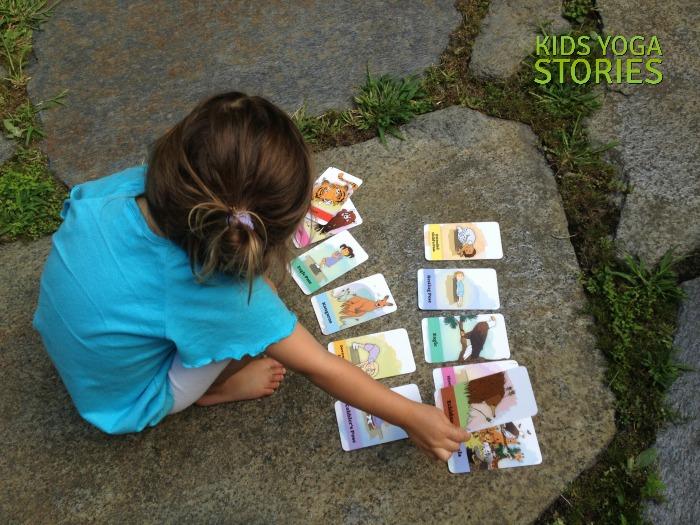 Bedtime Yoga Cards sorting outside | Kids Yoga Stories