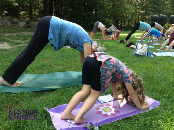 Family Yoga in the Park on Kids Yoga Stories (part of our SMART Goals for September)