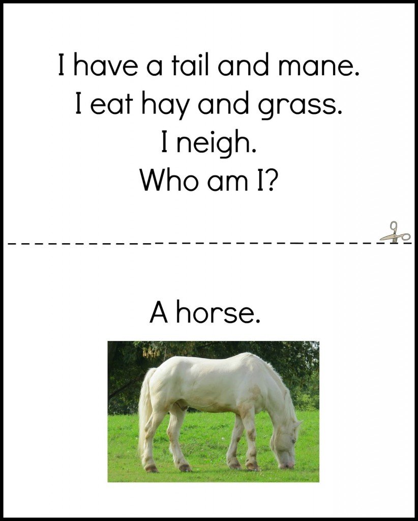 Farm book horse page from Farm preschool activities