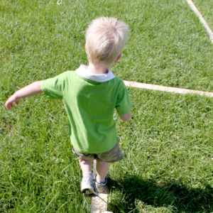 Make an outdoor balance beam.