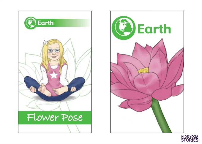 Flower Pose sample from our upcoming 50-yoga card deck | Kids Yoga Stories