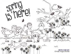 spring coloring page kids yoga stories - Coloring Page Kids