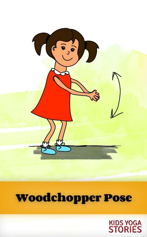 Woodchopper Pose on Kids Yoga Stories