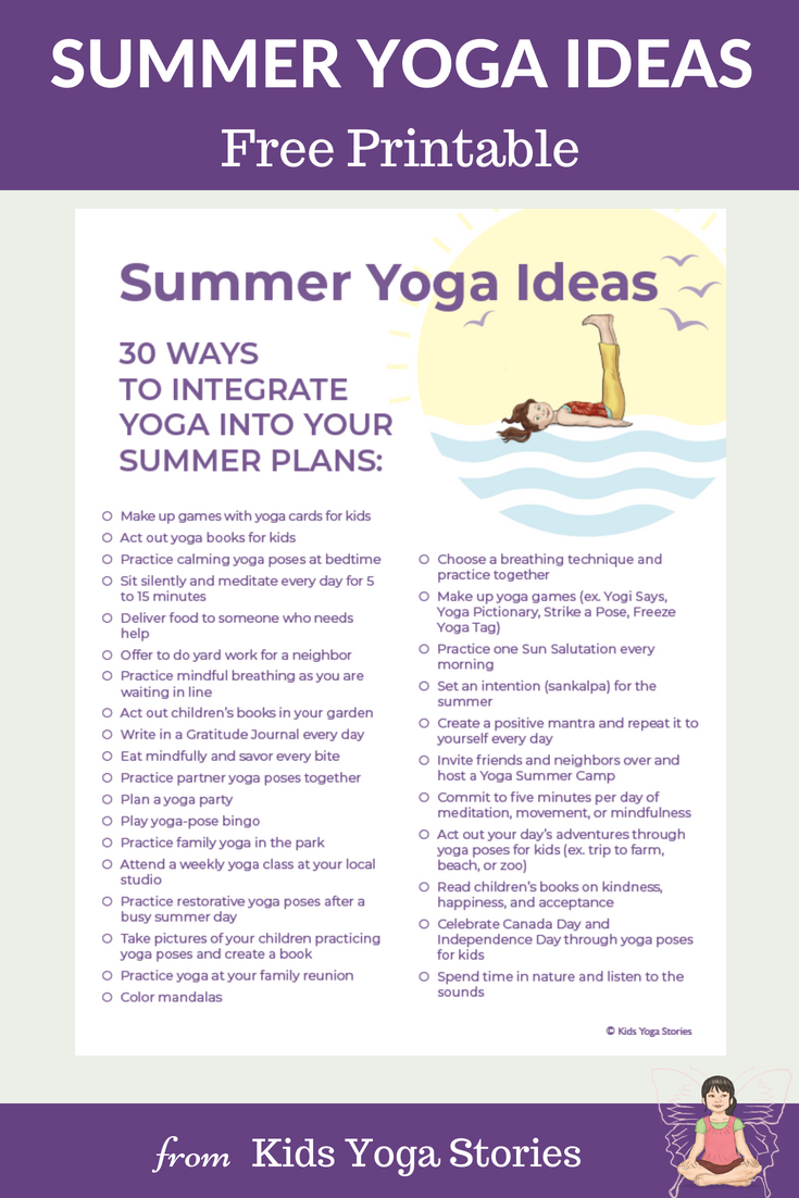 Summer Yoga Ideas Poster | Kids Yoga Stories