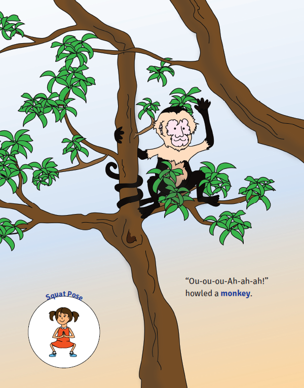 Sophia's Jungle Adventure yoga book for kids (monkey pose)   Kids Yoga Stories