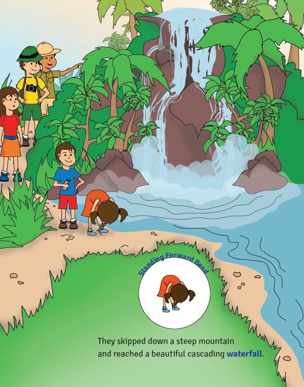 Sophia's Jungle Adventure yoga book for kids (waterfall pose)   Kids Yoga Stories