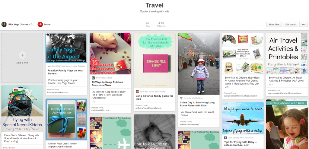 Pinterest Travel Board | Kids Yoga Stories