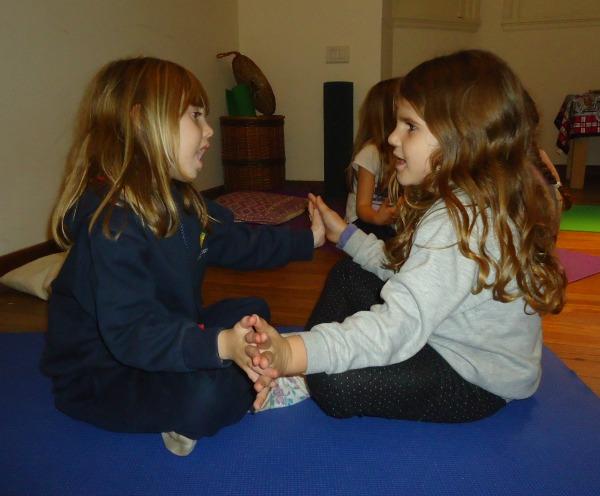 Two Kindergarten yoga students chanting a Sa Ta Na Ma mantra together | KIds Yoga Stories