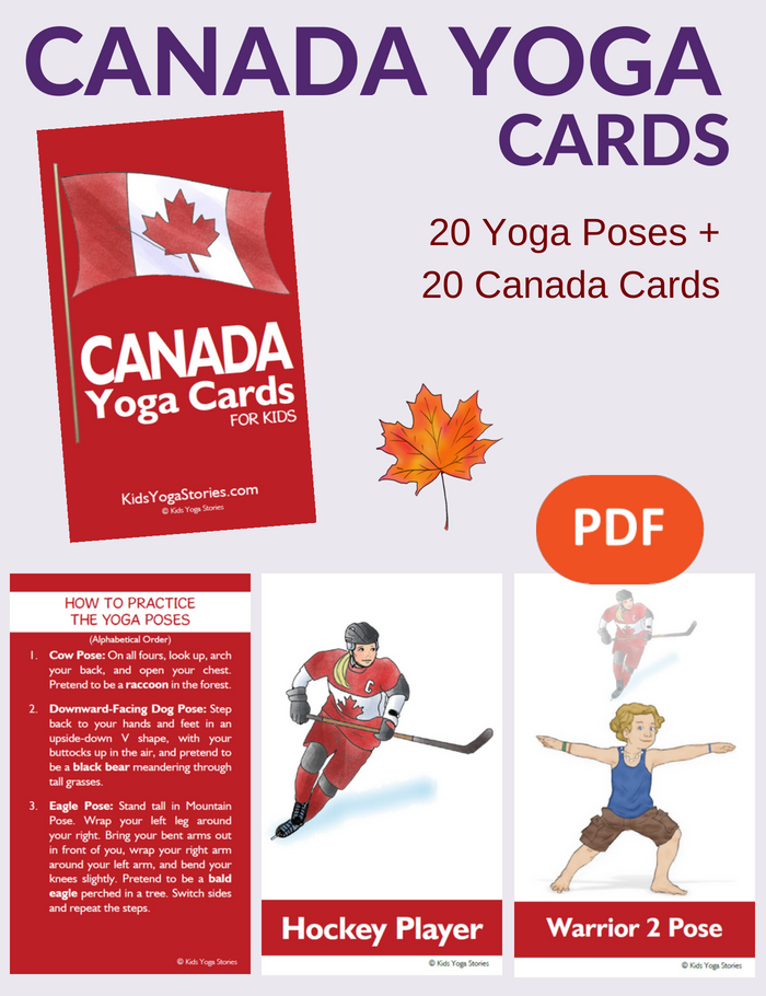Celebrate Canada Day by practicing yoga poses - with these Canada Yoga Cards for Kids | Kids Yoga Stories