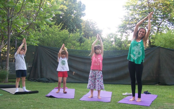 Kindergarten yoga students practicing in the garden | Kids Yoga Stories