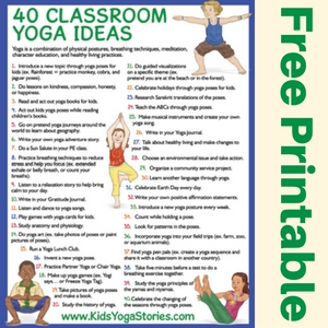 40 Classroom Yoga Ideas free printable poster | Kids Yoga Stories