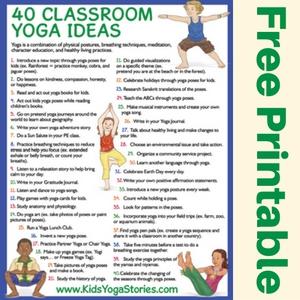 40 Classroom Yoga Ideas free printable poster | Kids Yoga Stories