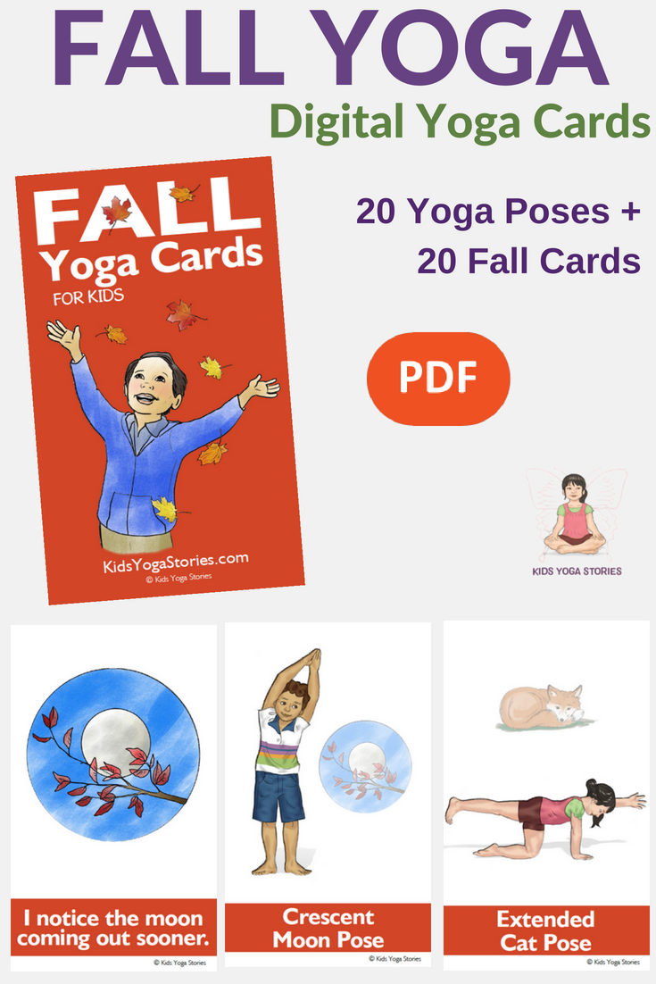 fall yoga, digital yoga cards, fall yoga ideas | Kids Yoga Stories