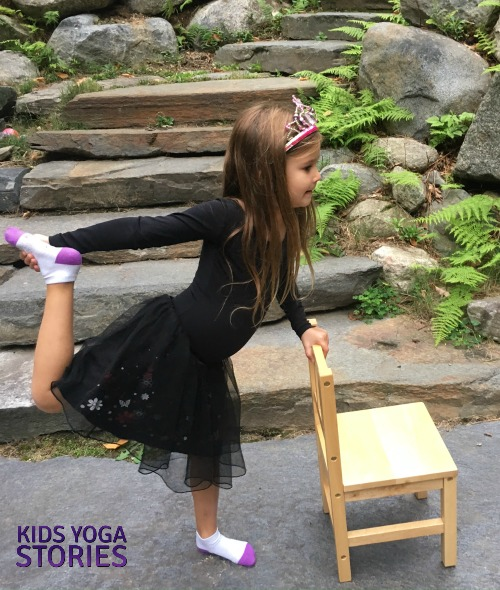 Dancer's Pose using a chair pretending to be a ballet dancer for Halloween | Kids Yoga Stories