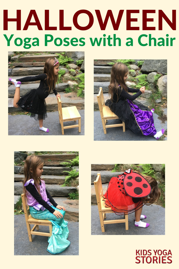 Halloween yoga class ideas - 5 costume-inspired yoga poses using a chair | KIds Yoga Stories