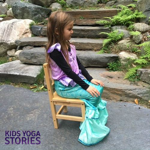 Hero Pose in a chair pretending to be a mermaid | Kids Yoga Stories