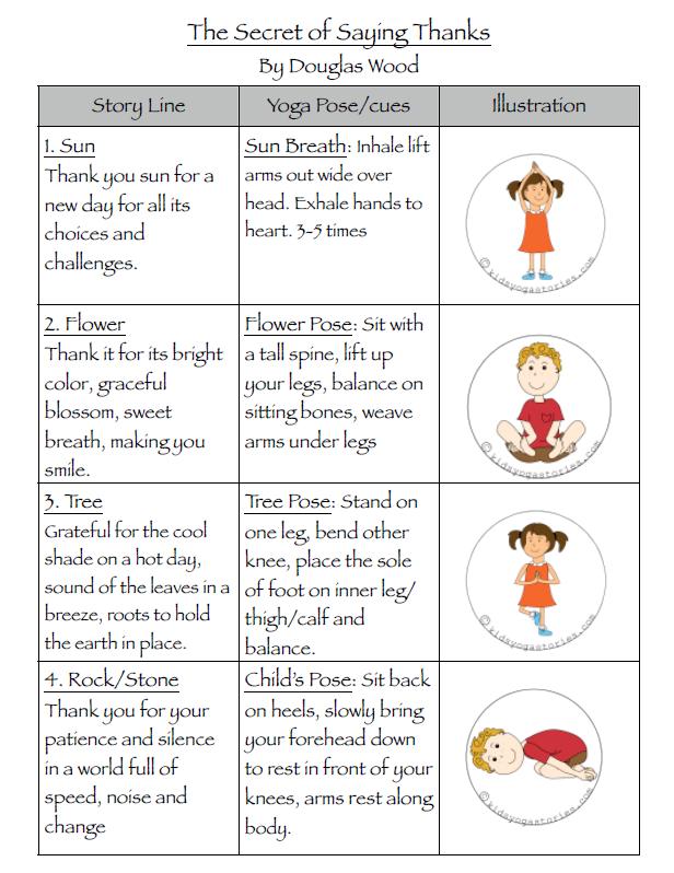 Gratitude Yoga Sequence: The Secret of Saying Thanks printable   Kids Yoga Stories