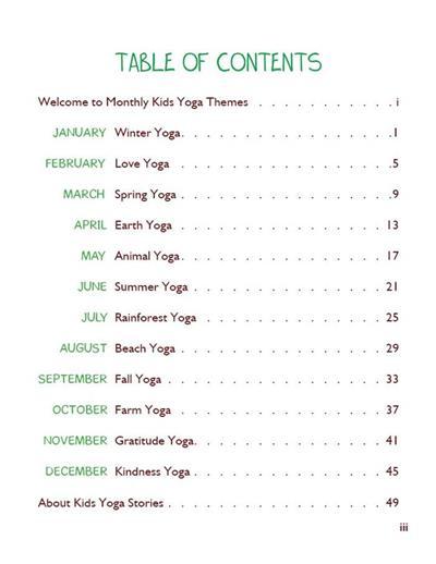 Monthly Kids Yoga Themes PDF Download (English) Image