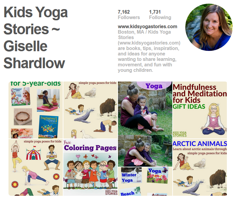 Kids Yoga Stories Pinterest page