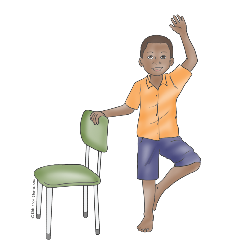 Tree Pose for Kids Using a Chair | Kids Yoga Stories