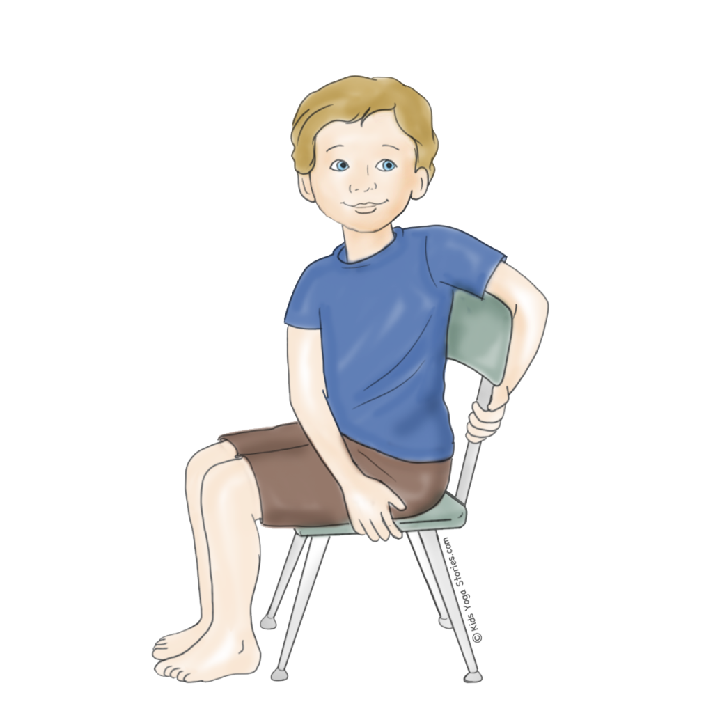 Chair yoga poses - Seated Twist Using A Chair Kids Yoga Stories