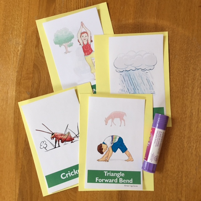 Garden Yoga Cards for Kids glued | Kids Yoga Stories