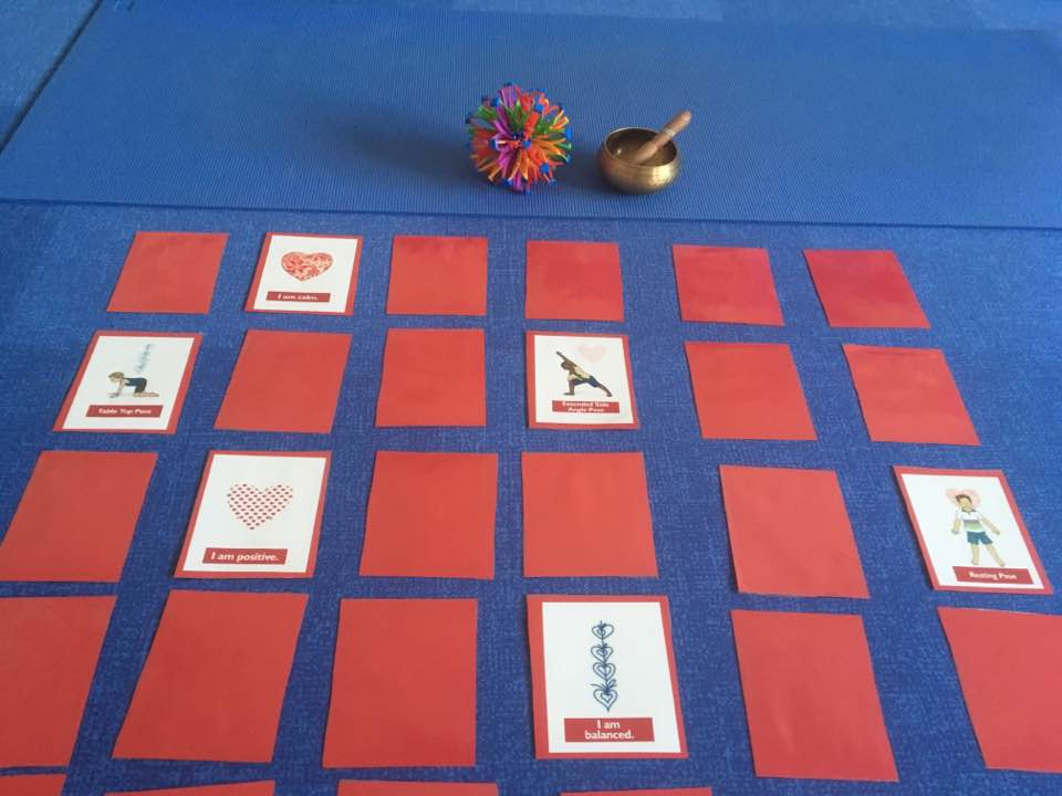 LOVE Yoga Cards for Kids printed on red paper | Kids Yoga Stories