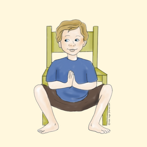 Squat Pose next to a chair | Kids Yoga Stories