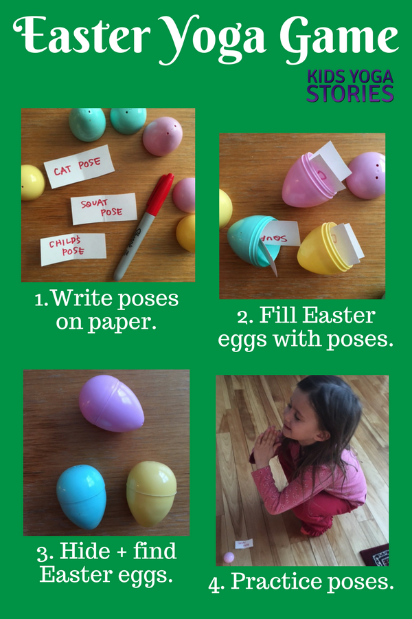 Easter yoga game to learn fun yoga poses and add movement to your Easter celebration | Kids Yoga Stories