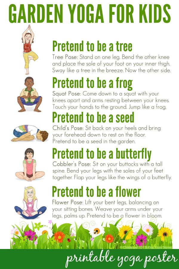 Garden Yoga for Kids printable poster | Kids Yoga Stories
