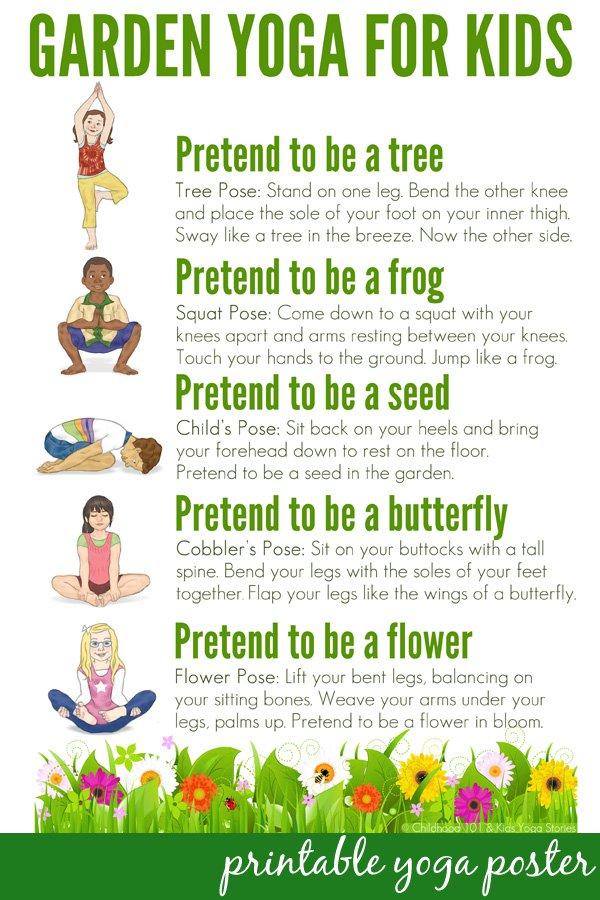 Garden Yoga For Kids Printable Poster