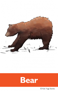 North American Animals Alphabet Yoga Cards - Bear | Kids Yoga Stories