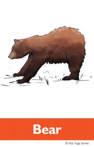 North American Animals Alphabet Yoga Cards - Bear | Kids Yoga Stories