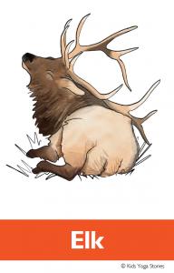 North American Animals Alphabet Yoga Cards - Elk | Kids Yoga Stories