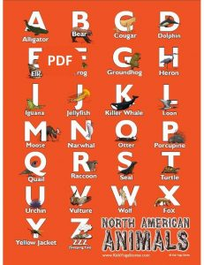 North American Animals Alphabet Poster PDF Download (English) Image