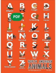 North American Animals Alphabet Poster PDF Download (English) Image