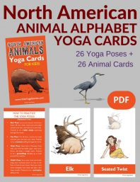 North American Animals Alphabet Yoga Cards for Kids PDF Download (English) Image