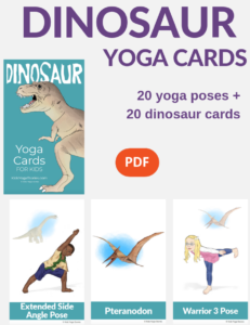 Dinosaur yoga cards for kids, dinosaur yoga poses | Kids Yoga Stories