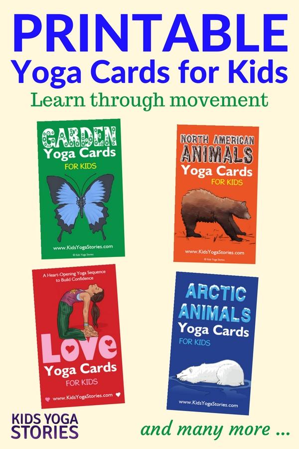 Collection of Printable Yoga Cards for Kids for your classroom, homeschool, or yoga studio | Kids Yoga Stories